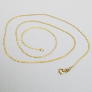 """14k solid gold herringbone chain necklace 18"""""""